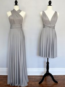Edgy Empire Quinceanera Court of Honor Dress Grey Halter Top Chiffon Sleeveless Floor Length Lace Up
