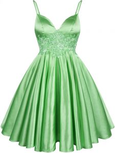 Dramatic Elastic Woven Satin Spaghetti Straps Sleeveless Lace Up Lace Quinceanera Court Dresses in Green