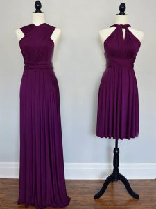 Extravagant Purple Lace Up Quinceanera Court Dresses Ruching Sleeveless Floor Length