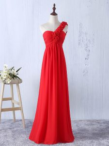 Dynamic Empire Vestidos de Damas Red One Shoulder Chiffon Sleeveless Floor Length Lace Up
