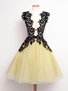 New Arrival Gold Sleeveless Knee Length Lace Lace Up Dama Dress for Quinceanera