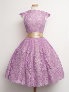 Amazing Lilac Lace Lace Up Dama Dress Cap Sleeves Knee Length Belt