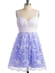 Fine Lavender Straps Neckline Lace Quinceanera Court of Honor Dress Sleeveless Lace Up
