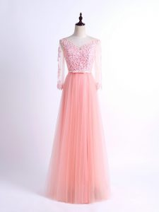 Floor Length Empire Half Sleeves Pink Damas Dress Lace Up