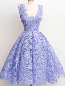 Lavender Sleeveless Knee Length Lace Zipper Quinceanera Court of Honor Dress