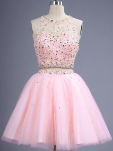 High Quality Baby Pink Lace Up Dama Dress for Quinceanera Beading Sleeveless Knee Length