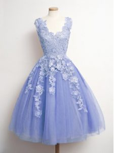Trendy Lavender Sleeveless Appliques Knee Length Court Dresses for Sweet 16