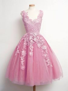 A-line Quinceanera Dama Dress Pink V-neck Tulle Sleeveless Knee Length Lace Up