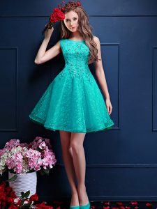 Turquoise A-line Bateau Sleeveless Tulle Knee Length Lace Up Beading and Lace Vestidos de Damas