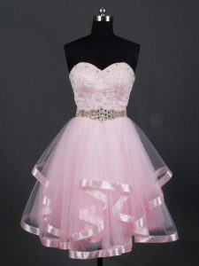 Decent Mini Length Baby Pink Dama Dress for Quinceanera Sweetheart Sleeveless Zipper