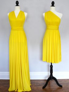 Ruching Quinceanera Court of Honor Dress Yellow Lace Up Sleeveless Floor Length