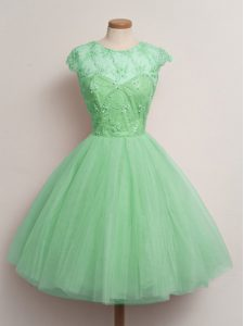 Classical Knee Length Ball Gowns Cap Sleeves Turquoise Quinceanera Court of Honor Dress Lace Up