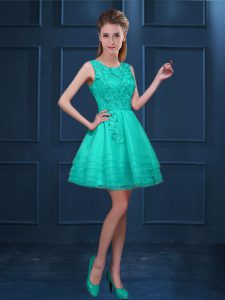 Turquoise Zipper Scoop Lace and Ruffled Layers Dama Dress for Quinceanera Tulle Sleeveless