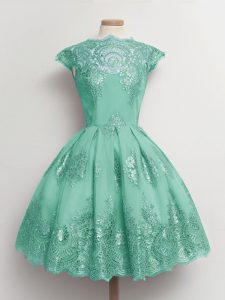 Turquoise Cap Sleeves Tulle Lace Up Dama Dress for Quinceanera for Prom and Party and Wedding Party