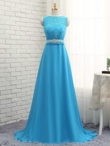 Adorable Baby Blue Asymmetric Neckline Beading and Lace Damas Dress Sleeveless Zipper