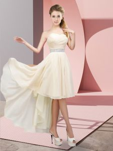 Fancy Champagne A-line Beading Quinceanera Court of Honor Dress Lace Up Chiffon Sleeveless High Low