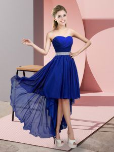 Great Sleeveless Chiffon High Low Lace Up Vestidos de Damas in Royal Blue with Beading