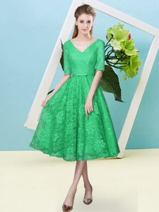 Extravagant Bowknot Court Dresses for Sweet 16 Turquoise Lace Up Half Sleeves Tea Length