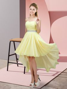 Yellow Dama Dress for Quinceanera Prom and Party and Wedding Party with Beading Sweetheart Sleeveless Lace Up