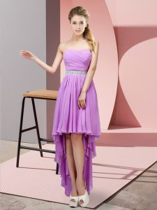 Classical High Low Lace Up Quinceanera Dama Dress Lavender for Prom and Party and Wedding Party with Beading