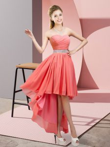 Sweetheart Sleeveless Chiffon Quinceanera Dama Dress Beading Lace Up