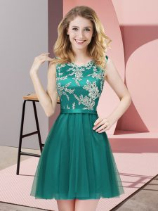 Perfect Turquoise Sleeveless Tulle Side Zipper Dama Dress for Quinceanera for Prom and Party and Wedding Party
