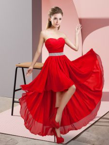 Sweetheart Sleeveless Lace Up Dama Dress for Quinceanera Red Chiffon