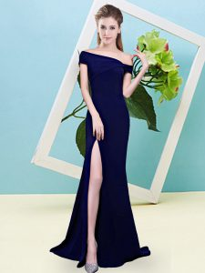 Royal Blue Sleeveless Ruching Floor Length Vestidos de Damas