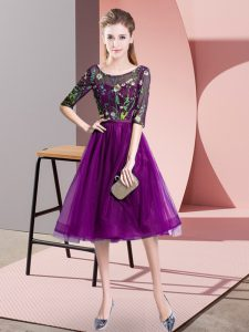 Delicate Purple Scoop Lace Up Embroidery Dama Dress for Quinceanera Half Sleeves