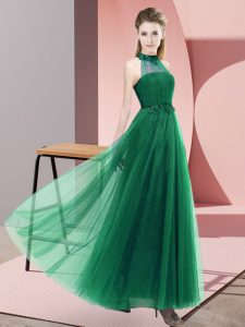 Dark Green Sleeveless Floor Length Beading and Appliques Lace Up Quinceanera Dama Dress
