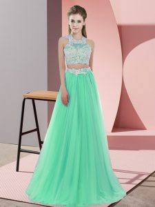 Floor Length Zipper Dama Dress for Quinceanera Apple Green for Wedding Party with Lace