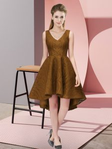 Comfortable Brown A-line Lace V-neck Sleeveless Lace High Low Zipper Court Dresses for Sweet 16