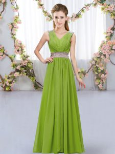 Olive Green V-neck Neckline Beading and Belt Quinceanera Court of Honor Dress Sleeveless Lace Up
