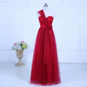 Wine Red Empire Tulle One Shoulder Sleeveless Ruching Floor Length Zipper Dama Dress