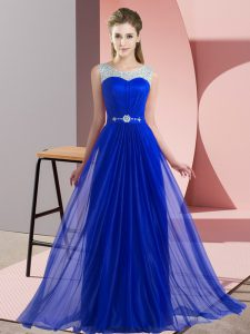 Affordable Chiffon Sleeveless Floor Length Vestidos de Damas and Beading