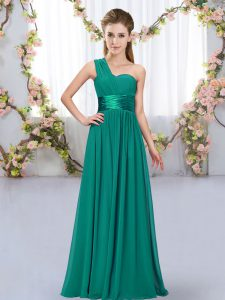 Adorable Sleeveless Floor Length Belt Lace Up Quinceanera Dama Dress with Peacock Green
