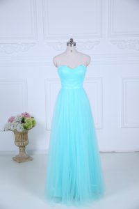Luxury Tulle Sweetheart Sleeveless Zipper Ruching Quinceanera Court Dresses in Aqua Blue