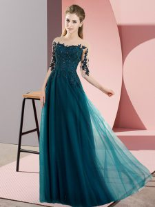 Exceptional Bateau Half Sleeves Lace Up Quinceanera Court of Honor Dress Peacock Green Chiffon