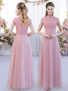 Pink Empire Tulle High-neck Cap Sleeves Lace Floor Length Zipper Dama Dress for Quinceanera