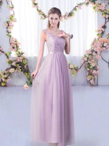 Popular Lavender Empire Lace and Belt Vestidos de Damas Side Zipper Tulle Sleeveless Floor Length