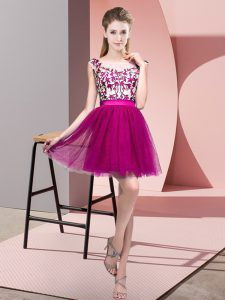 Fantastic Tulle Bateau Sleeveless Zipper Lace Quinceanera Court of Honor Dress in Fuchsia
