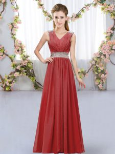 Colorful Beading and Belt Quinceanera Court Dresses Wine Red Lace Up Sleeveless Floor Length