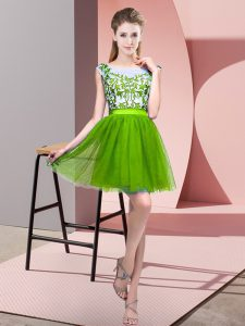 Best Tulle Sleeveless Mini Length Dama Dress and Lace