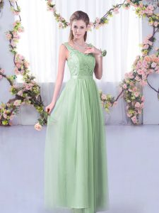 Stunning Apple Green Empire Tulle V-neck Sleeveless Lace and Belt Floor Length Side Zipper Damas Dress