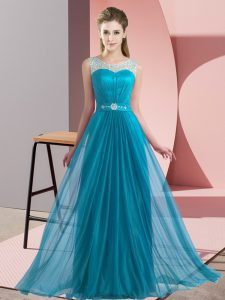 Stylish Teal Empire Beading Court Dresses for Sweet 16 Lace Up Chiffon Sleeveless Floor Length