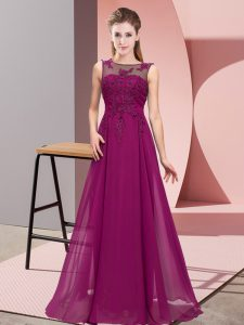 Floor Length Empire Sleeveless Purple Court Dresses for Sweet 16 Zipper