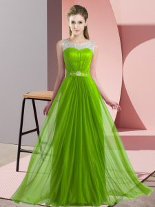 Sleeveless Floor Length Beading Lace Up Dama Dress
