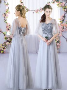Affordable Grey V-neck Neckline Appliques Quinceanera Court Dresses Sleeveless Lace Up