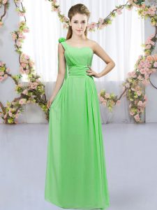 Affordable Empire Hand Made Flower Court Dresses for Sweet 16 Lace Up Chiffon Sleeveless Floor Length
