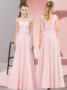 Latest Baby Pink Sleeveless Beading and Appliques Floor Length Quinceanera Court of Honor Dress